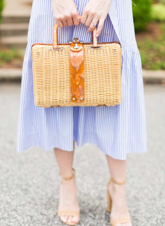 How To Style A Strapless Stripe Midi Dress - Poor Little It Girl