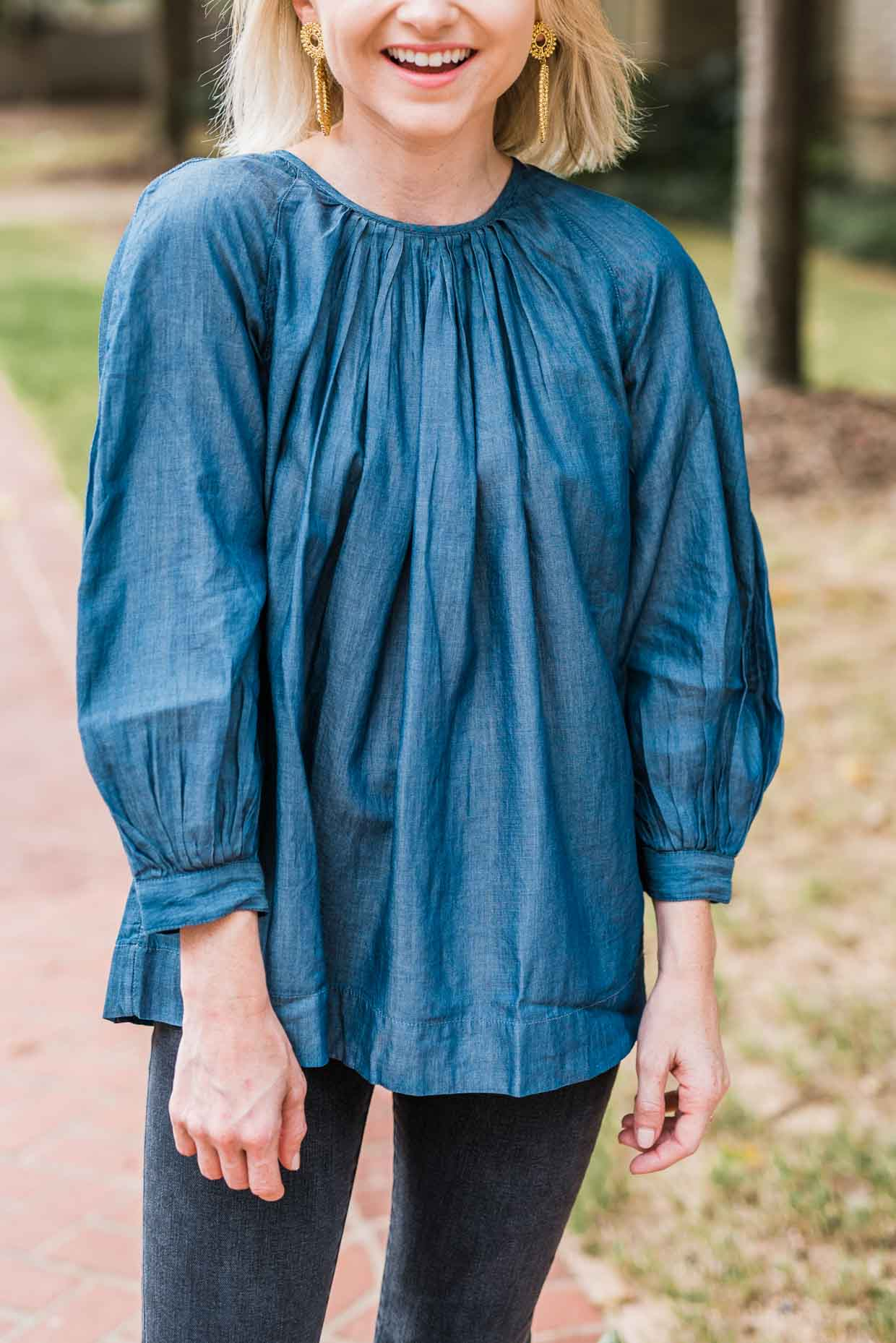 Madewell Chambray Tie Back Top - Poor Little It Girl